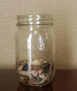 Mason jar with rocks