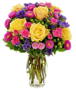 Yellow Pink Roses Matsumoto White Alstroemeria Green Aster Purple Statice Hyperi On Mums And Monte Blooms